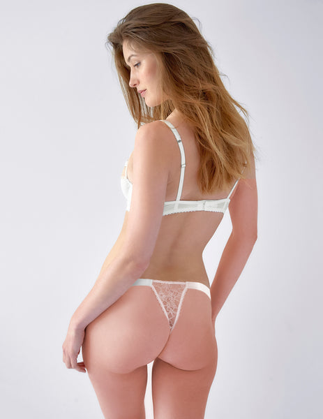 Schwan White Lace Hipster Thong | Mimi Holliday Luxus Lingeri