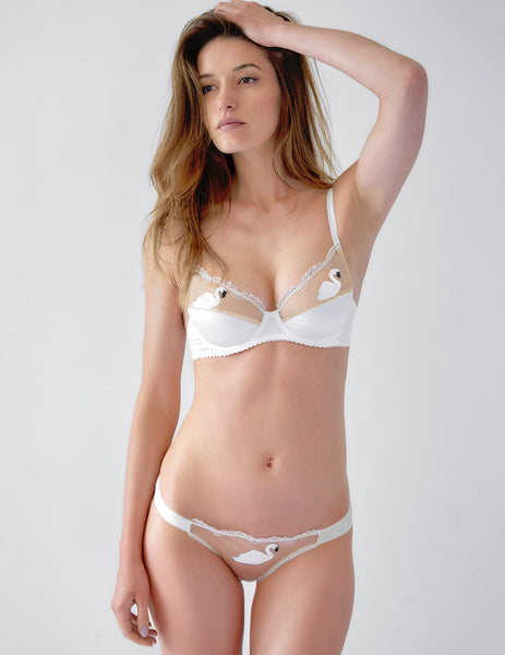 Swan White Lace Padded Push Up Bra | Mimi Holliday Designer Underkläder