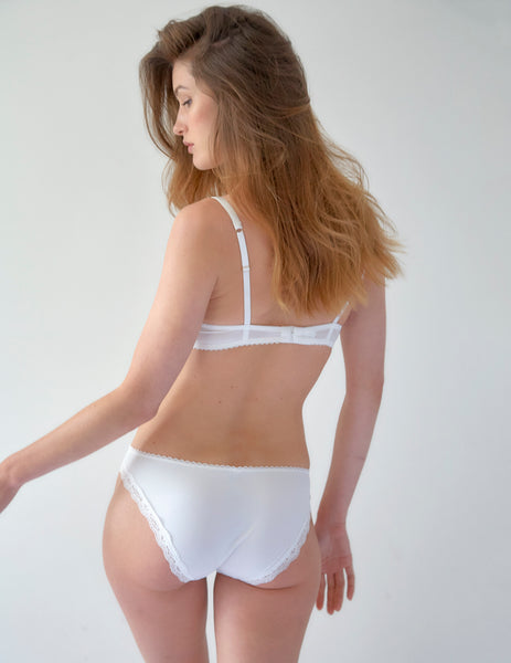 White Lace Swan Brief Knickers | Mimi Holliday Designer Lingerie