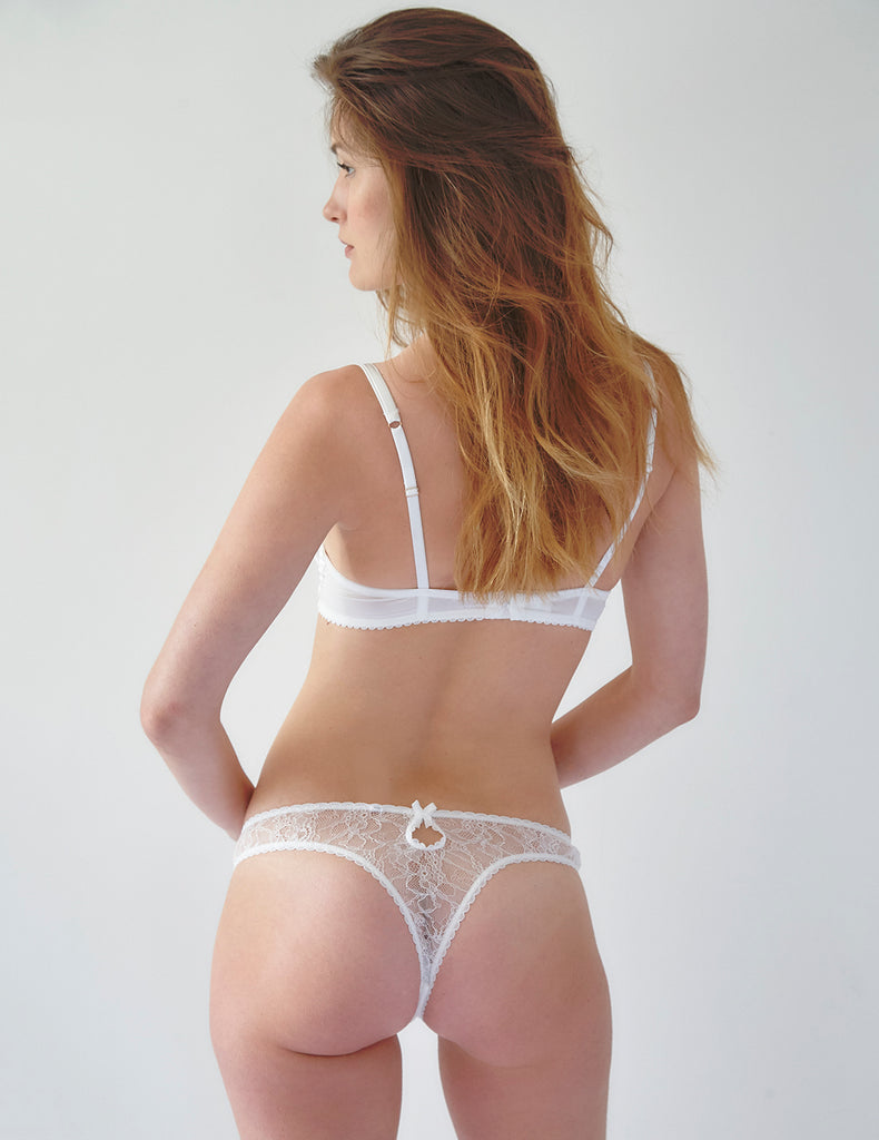 White Lace Swan Peep Thong | Mimi Holliday Designer Lingerie