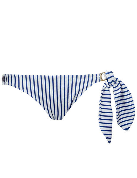 Cecile Striped Blue White Bikini Bottom | Mimi Holliday Luksus Badetøy
