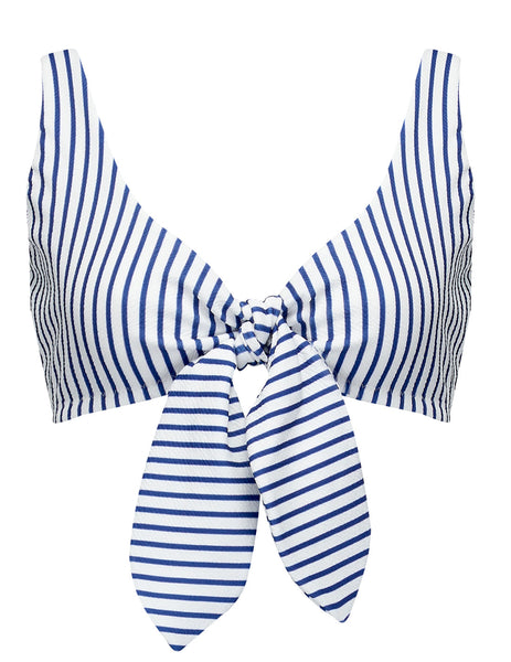 Cecile Blue White Stripe Bikini Top | Mimi Holliday Designer Swimwear