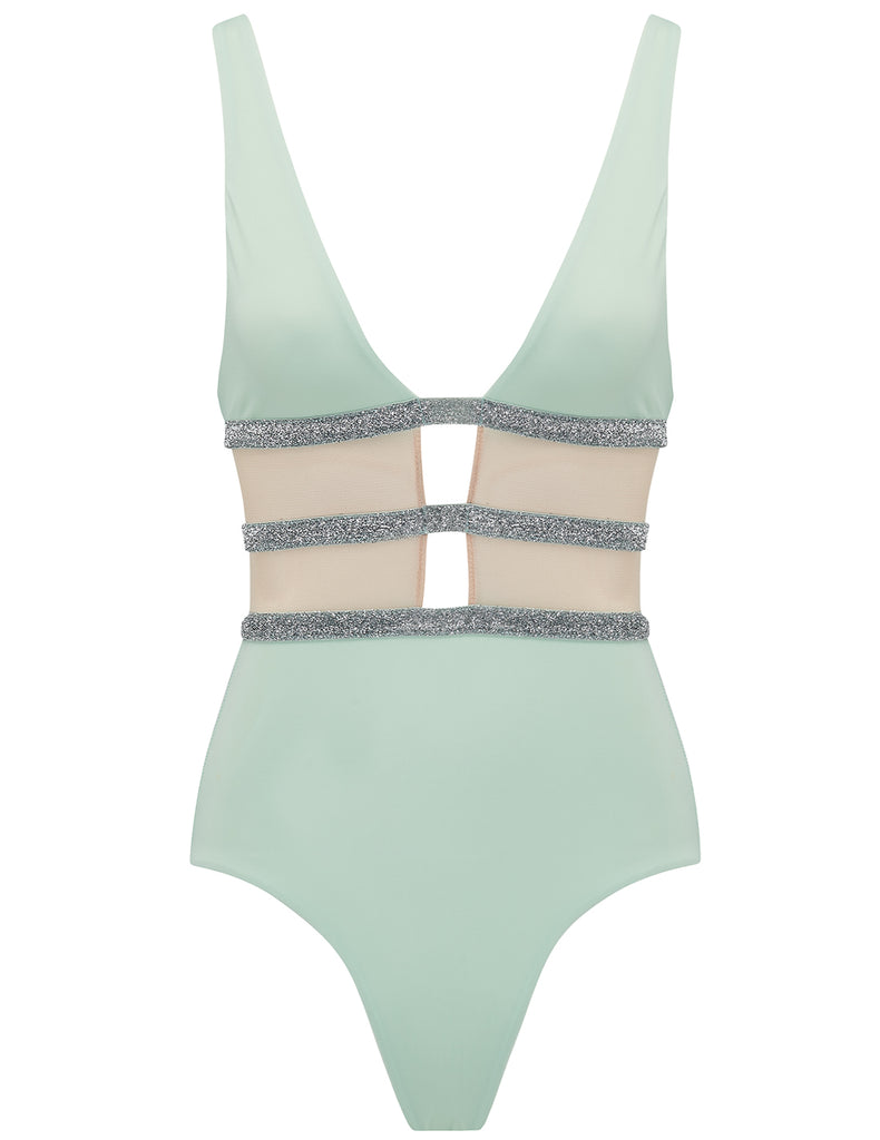 Asteriae Mint & Silver Sparkle Swimsuit - Ontworpen door 5pm zwemkleding