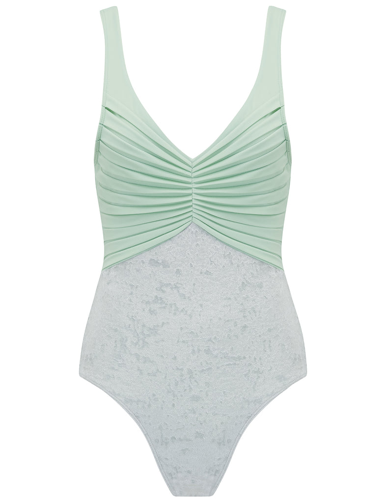 Nerida Silver Velvet And Mint Swimsuit - Criado por 5pm Swimwear
