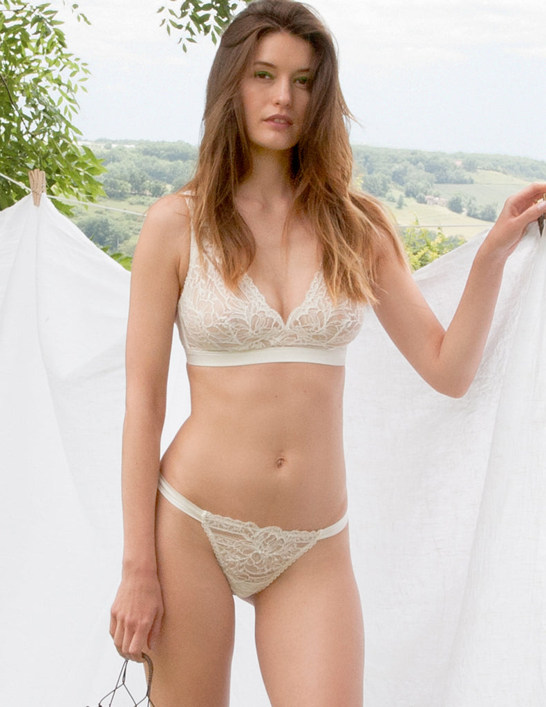 Weißer Blumenspitze Hipster Thong | Mimi Holliday Sexy Dessous