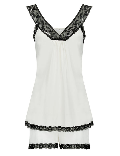 Black & White Night Shorts | Mimi Holliday Designer Nightwear