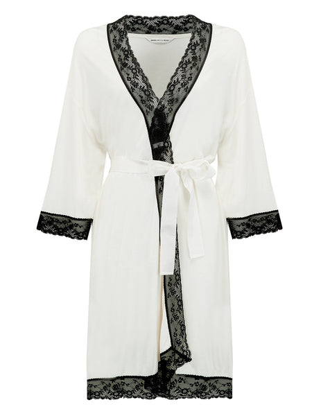 Black & White Dressing Gown | Mimi Holliday Designer Nightwear