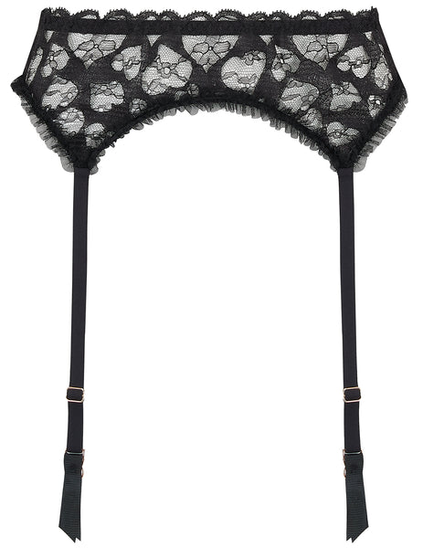 Black Hearts Lace Suspenders | Mimi Holliday Sexig Underkläder