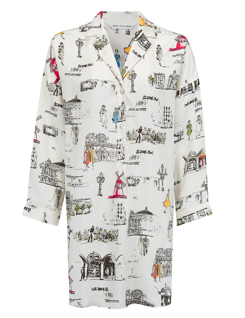 Paris Nightshirt Bianco | Mimi Holliday Designer Nightwear