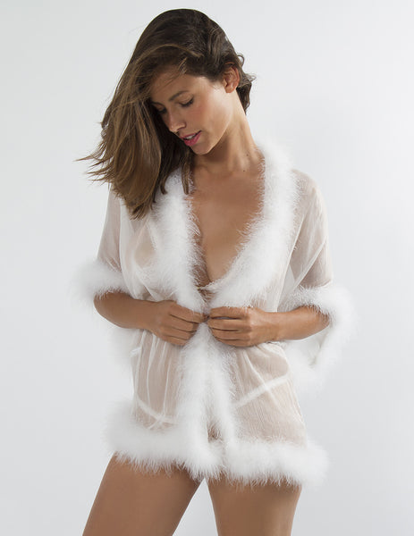 Booster White Maribou Night Gown | Mimi Holliday Luxury Lingerie