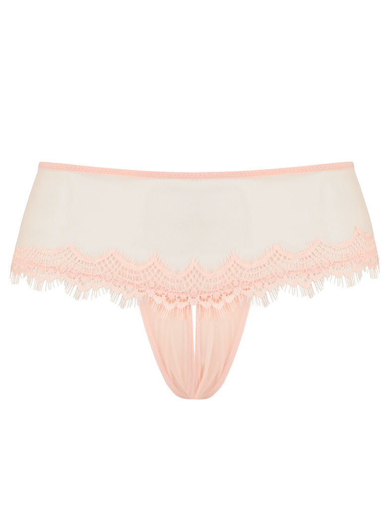 Peach Lace Ouvert Knickers | Mimi Holliday设计师内衣
