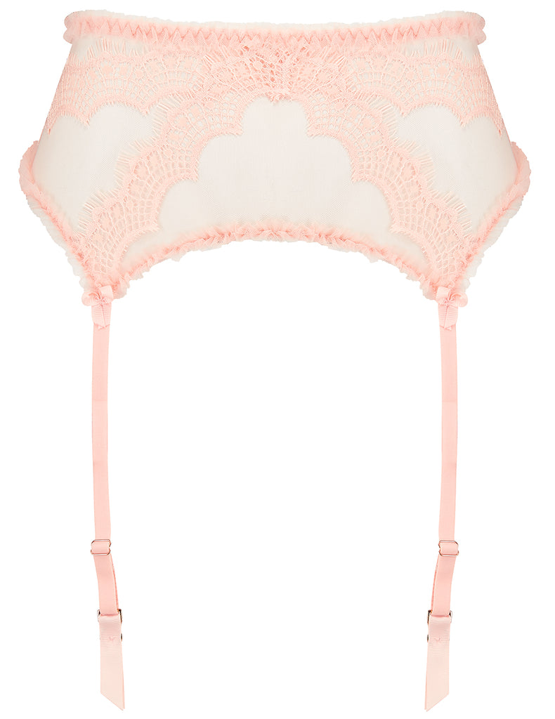 Peach Lace Suspenders Mimi Holliday Luxury Alusvaatteet