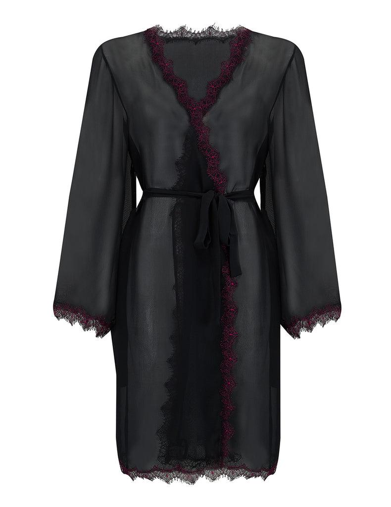 Luksus Dark Red Silk Dressing Gown | Mimi Holliday Nightwear