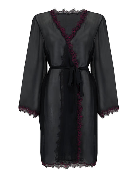 Luxury Dark Red Silk Dressing Gown | Mimi Holliday Nightwear