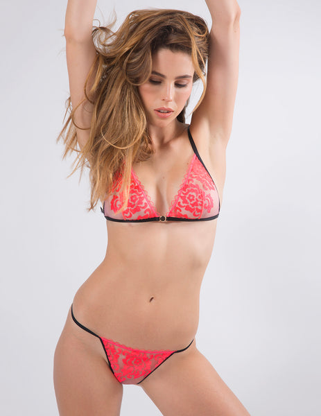 Rød blomstermotiv Ouvert Thong Set | Mimi Holliday Luxury Lingerie
