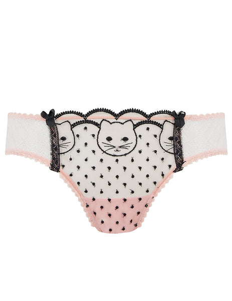 Pink & Black Lace Cat Embroidery Brief Knickers - Mimi Holliday Sexy Lingerie