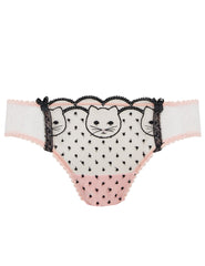 Pink & Black Lace Cat Broderi Korte Knickers - Mimi Holliday Sexy Lingeri