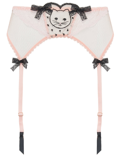 Pink & Black Lace & Cat Embroidery Suspenders - Mimi Holliday Sexy Undertøy