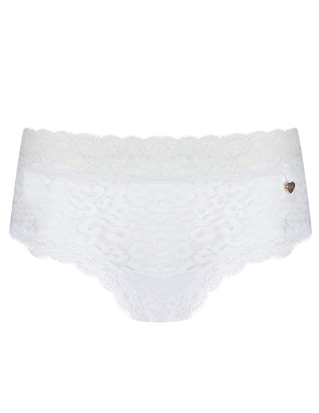 White Leopard Lace Brief Knickers | Mimi Holliday Designer Undertøj