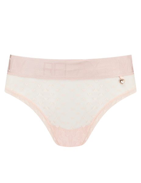 Knickerworld | Peach Heart Mesh Elastic Waist Knickers