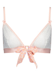 Peach Leopard Print Triangle Bow Bra - Mimi Holliday Sexy Lingerie