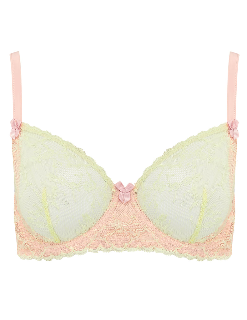 Green & Peach Lace Comfort Bra | Mimi Holliday Luxury Lingerie
