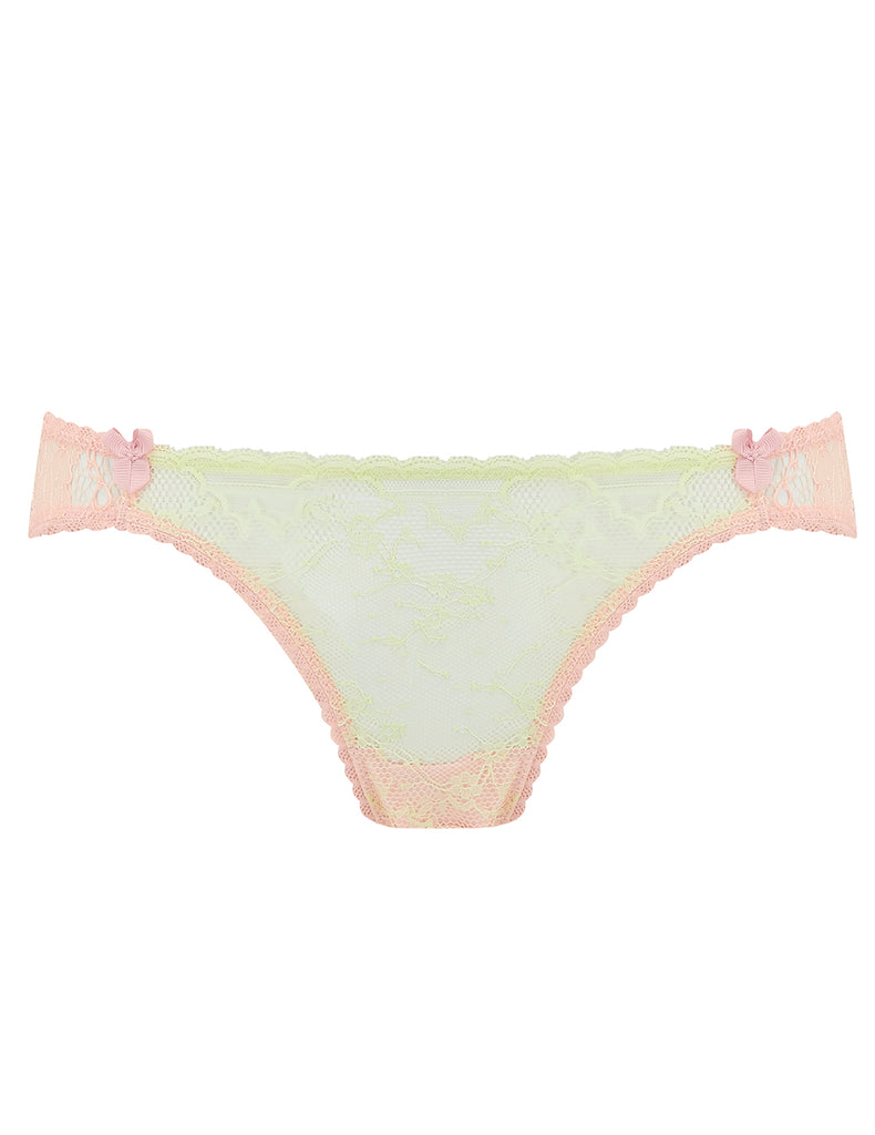 Knickers in pizzo verde e pesca | Mimi Holliday Luxury Lingerie