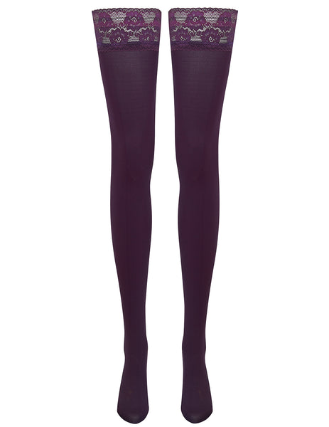 Mimi Lace Top Hold Ups - Midnight Aubergine