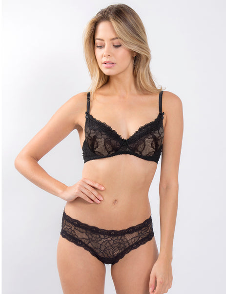Black Lace Nude Polstret Push Up Bra | Mimi Holliday Designer Undertøj
