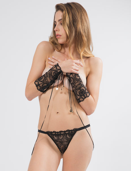 Black Lace Cuff & Knickers Set | Mimi Holliday Lingerie de luxo