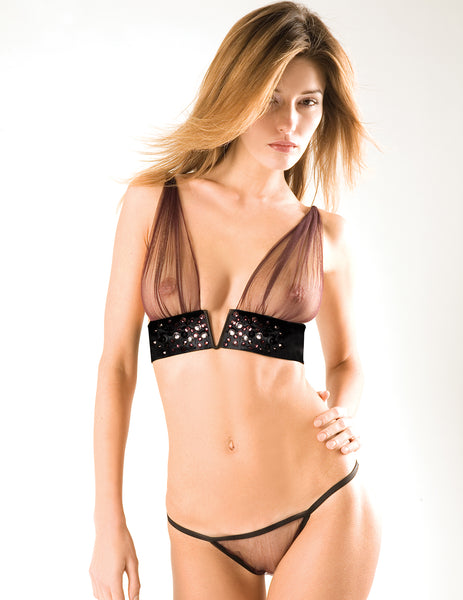 The Titicaca Aubergine Tulle Knickers | Damaris Luxury Lingerie