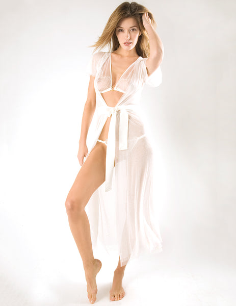 The Casablanca White Night Robe | Damaris Luxury Nightwear