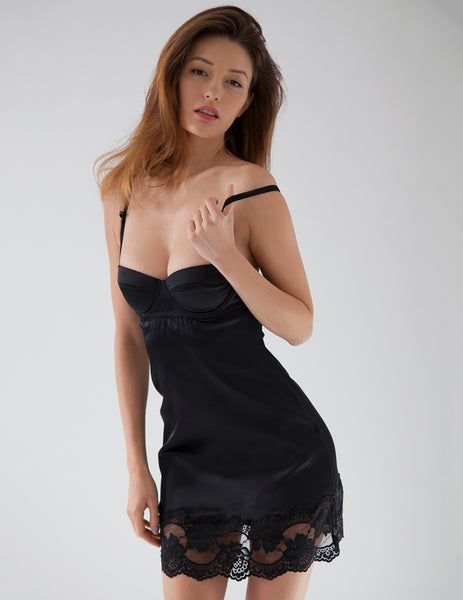 Black Silk Lace Nightie Slip | Mimi Holliday Designer Nightwear
