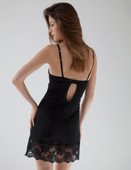 Slip in seta nera di seta nera Mimi Holliday Sexy Nightwear