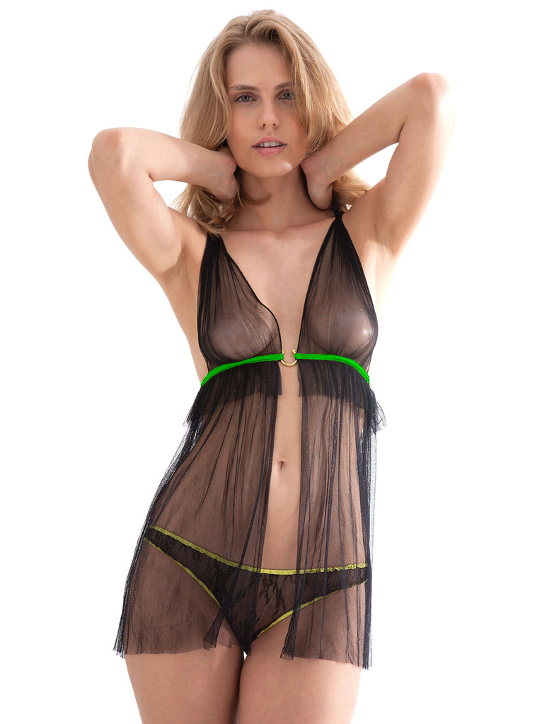 Damaris Hypnos Babydoll with Lime Trim