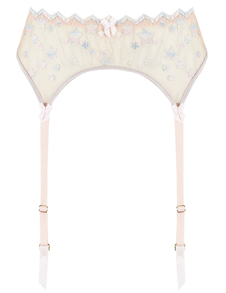 Nude Lace Stars Suspenders | Mimi Holliday Designer Undertøj