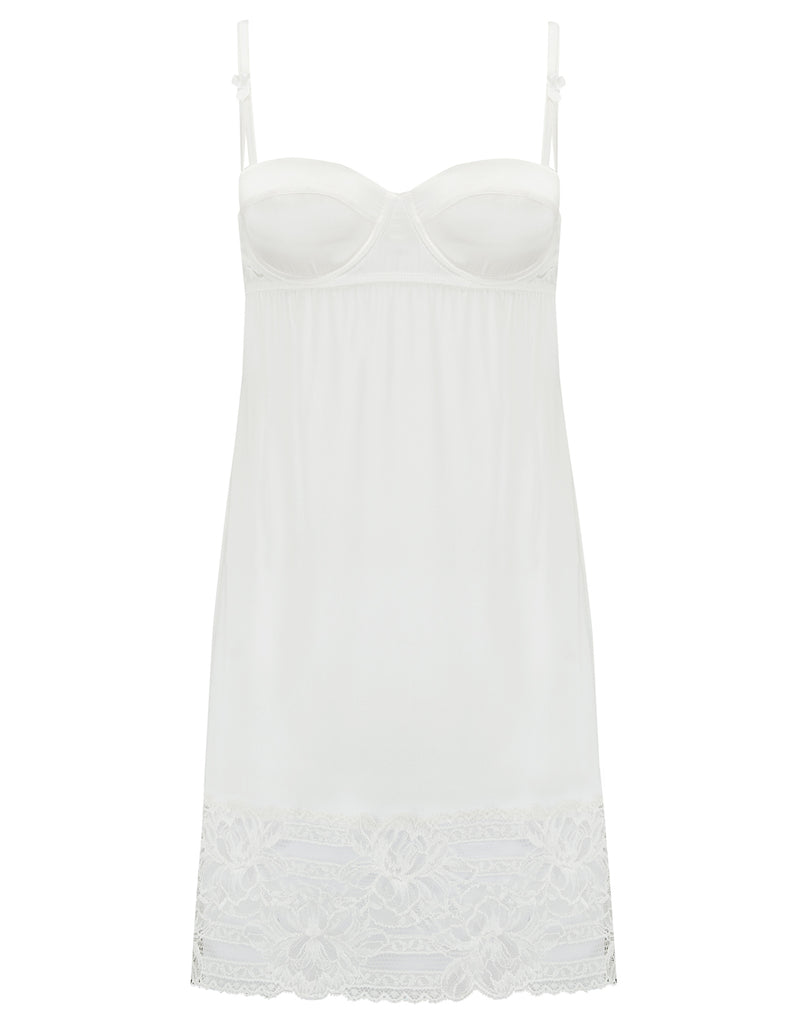 Hvit Lace Balcony Bra Slip | Mimi Holliday Luxury Nightwear