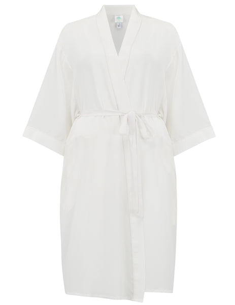 Hvid Silk Dressing Gown | Mimi Holliday Luxury Nightwear