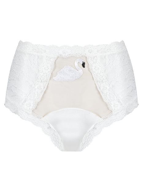 White Lace Swan High Waisted Knickers | Mimi Holliday Designer Underkläder