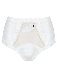 White Lace Swan High Waisted Knickers | Mimi Holliday Designer Undertøy