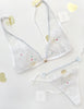 White Lace & Cat Embroidery Triangle Bra | Mimi Holliday Luxury Lingerie