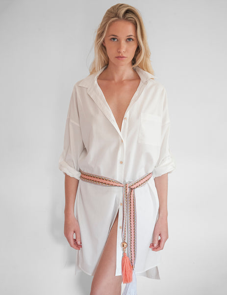 Frances White Shirt Dress | Mimi Holliday Luxury Beach Clothes