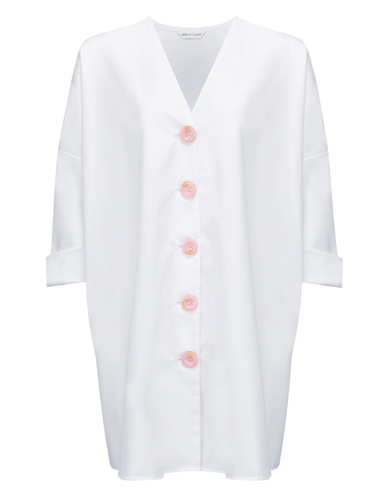 Bonjour White Shirt Beach Dress | Mimi Holliday Designer Badetøy