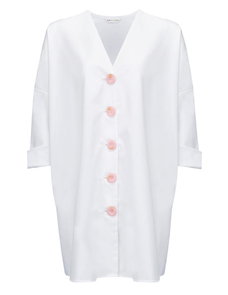 Bonjour Shirt White Shirt Beach Dress. Mimi Holliday Designer Swimwear