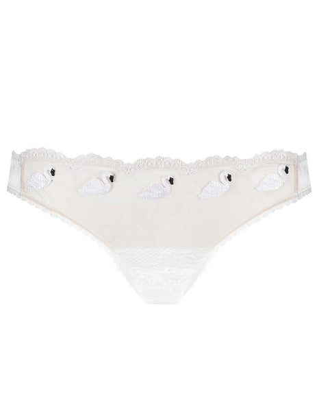 Vit snöre Swan Brief Knickers | Mimi Holliday Lyxunderkläder
