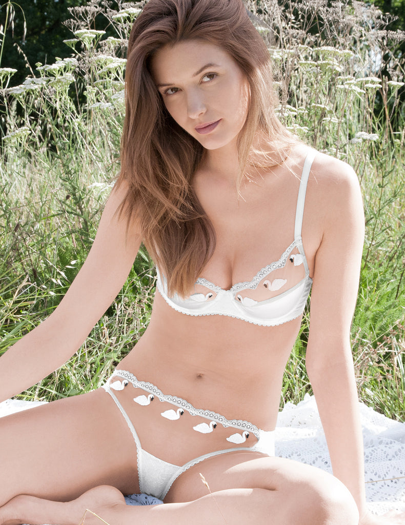Soutien-gorge push-up rembourré en dentelle blanche Swan | Mimi Holliday Luxury Lingerie