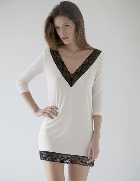 Tunica in Bianco e Nero Mimi Holliday Designer Nightwear