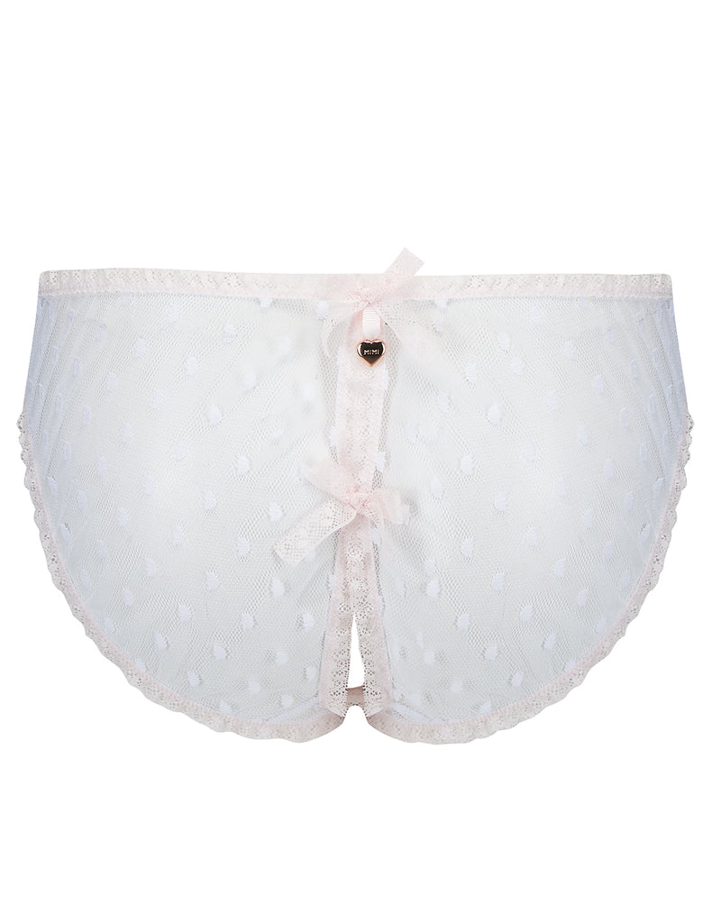 White & Pink Lace Ouvert Open Knickers - Mimi Holliday Luxury LingerieWhite Polka Dot & Pink Lace Ouvert Knickers - Mimi Holliday Luxury Lingerie
