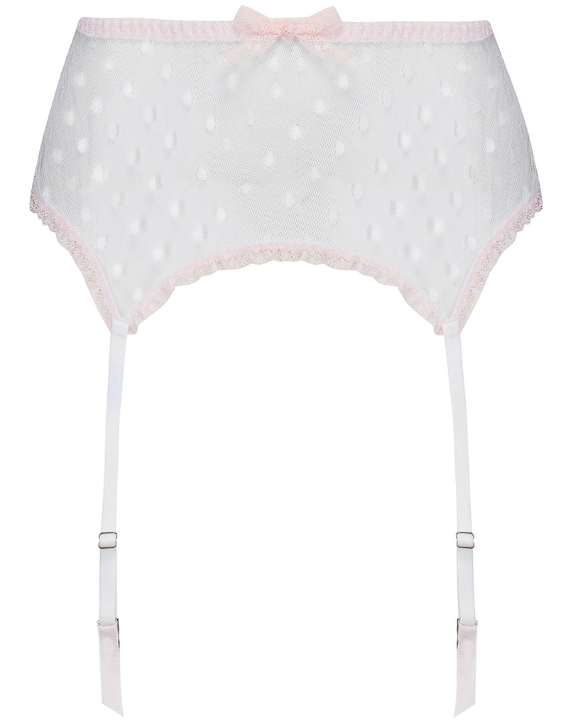 Hvit Polka Dot & Pink Lace Suspenders-Mimi Holliday Sexy Undertøy
