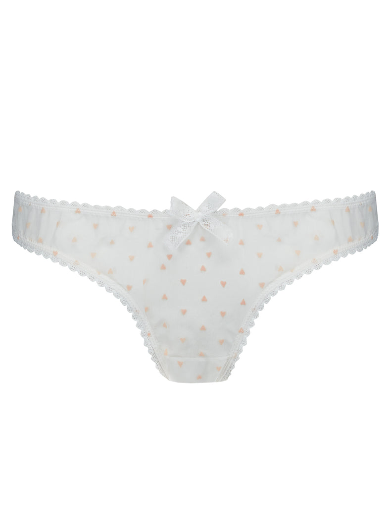 Hvit og rosa hjerter Silk Brief Knickers - Mimi Holliday Sexy Undertøy